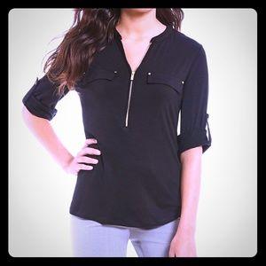 Calvin Klein black tshirt with gold zipper